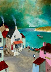 Coastal Ship Tavern by Keith Athay - Varnished Original Painting on Box Canvas sized 20x28 inches. Available from Whitewall Galleries